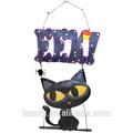 con estilo de halloween gato negro de metal placa de la pared