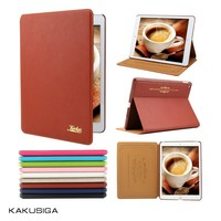 Kakusiga new design genuine leather cover case for apple ipad air 2/6 with low price