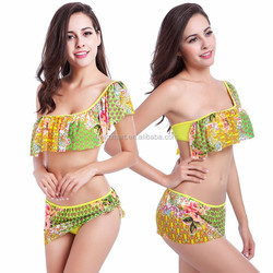One shoulder Transparent Mesh Flounced Japanese New Competition swimwear