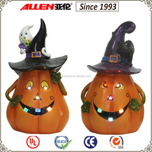"""10.8"""" resin wearing witches hat pumpkin sculpture with led light, pumpkin with ghost and black cat sculpture"""