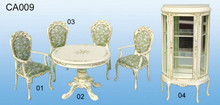 antique style 6pcs hand painting solid wooden showroom round table chair sets miniature furniture