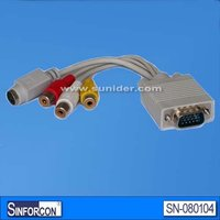 DB15 male to 3 RCA female cable, VGA to RCA adapter cable