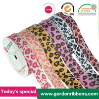 Whole Sale Transfer Printed Grosgrain Ribbon with leopard Printer Ribbon