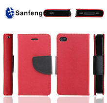 Dual Color Leather Case for Iphone 6 Folio Wallet Pouch / Useful Magnetic Leather Case For Iphone 6 Card Slot Case