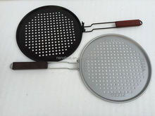 Non-stick Carbon Steel Round Electric BBQ Grill Pizza Tray Hole Perforated Baked Pizza Pan