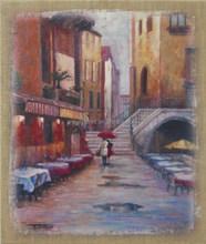 good quality romantic walking in the rain burlap canvas painting wall decor