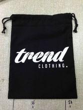 Factory price 5oz black cotton drawstring bag with custom logo, wholesale cotton fabric drawstring bag, drawstring cotton bag