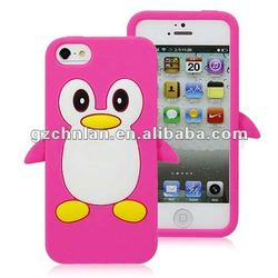 Cute penguin rubber case for iPhone 5 many colors accept Paypal