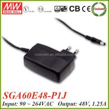 Meanwell SGA60E48-P1J 60w euro plug adapter 48v 1.25a
