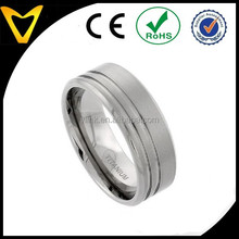 Wholesale Fashion Jewelry Ring Titanium Wedding Bands, Titanium 9MM Flat Wedding Band Ring 2 Stripes Beveled Edges Matte Finish