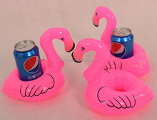 PVC Inflatable Pink Flamingo Water Cola Cup Holder