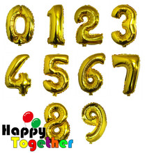 HAPPY TOGETHER Factory Wholesale In Stock Size 16 Inch And 40 Inch Gold Number Shaped Foil Balloons