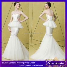2014 New Arrival Wedding Gown Sweetheart Court Train Satin And Organza 2 In 1 Zipper Back Pearls Wedding Dresses Wedding Gown