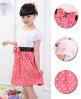 New 13 year old girls Sweet Ruffles Neck Dot Bow Decor Tunic Party Dress SV017499