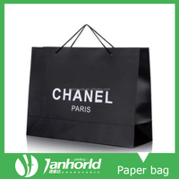 Black color 350gsm glossy art paper shopping cloth bag with custom logo