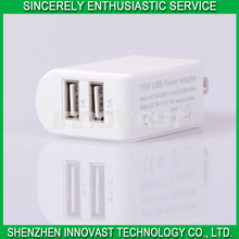 High Quality Portable 2 USB Port Wall Charger 5V 3.1A