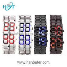 Most Popular Lava Style Led Iron Brand Red or Blue Light Style Samurai Led Watch