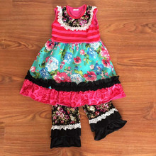 Wholesale Boutique Remake Outfits For Branded Remake Clothing Sets For Girls Capri Ruffles Clothing