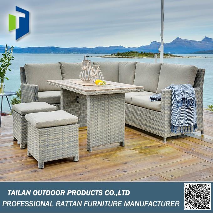 En plein air canap ensemble canap d 39 angle ensemble for Conjuntos de jardin con mesa alta