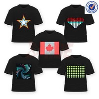 Hot selling 100%cotton kids led sound activated t-shirts