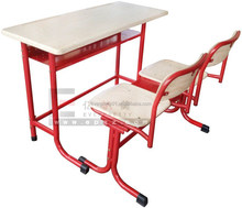 Manufacturer of School Classroom Furniture Wooden Double Desk and Chair, Antique School Desk and Chair for Student
