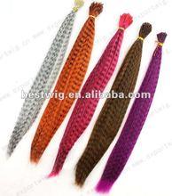 Ventas al por mayor de alta calidad 100% virgen remy humanos i punta de plumas de colores de pelo de extensión