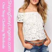 Nueva venta al por mayor Sexy hermoso encaje Off the shoulder Crop Top fishtail gasa blusa