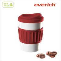 FDA food grade 250ml double wall ceramic mug with rubber lid and holder