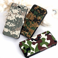 Original Newest Come Out army green cloth silicone flip case for iphone 6