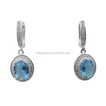 promotional women's party jewelry simulate light blue cz earrings on alibaba
