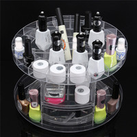1 Piece Transparent Organizer Plastic 360 Degree Rotating B eauty Cosmetic Perfume Displa y Stand Makeup Box Holder