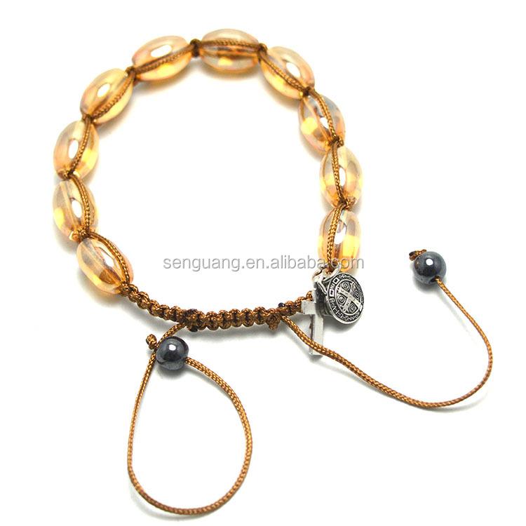 st benedict rosary bracelet cording catholic glass rosary