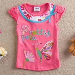 Korea fashion kis summer wear embroidery O neck t shirts for 2-6 Y kids girl