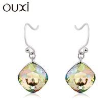 OUXI sweet dream of summer midnight, sterling silver&swarovski elements crystal earrings studs Y20011