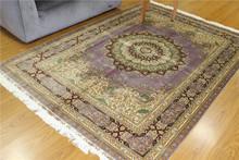 5.5x8 High End Pure Silk Handmade Indian Carpets Purple Commercial Carpet
