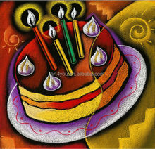 Handmade birthday cake oil painting