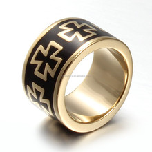 Latest Stainless Steel Men's Gold Wedding Band Ring Unique Jewelry Design