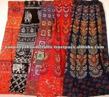 Wholesale lot of 100 pieces of Hand printed wrap skirts at discount prices.Available in mixed color pack directly from exporter