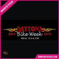 Sample Cool Daytona Bike Week Hot fix Rhinestone Design For Garment