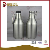Stainless steel vacuum insulated double wall 64 oz barrel style growler with swing lock cap