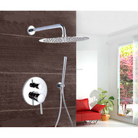 Chrome Wall Mount Concealed Shower Set Concealed Shower Faucets 10 Inch Rainfall Round Shower Head Bath Tap Mixer