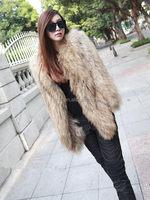 YR134 Denmark Popular Knit Raccoon Fur Coat/Women Long Fur Coat