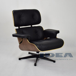 Replica Charles Lounge Chair Walnut Shell Black Leather
