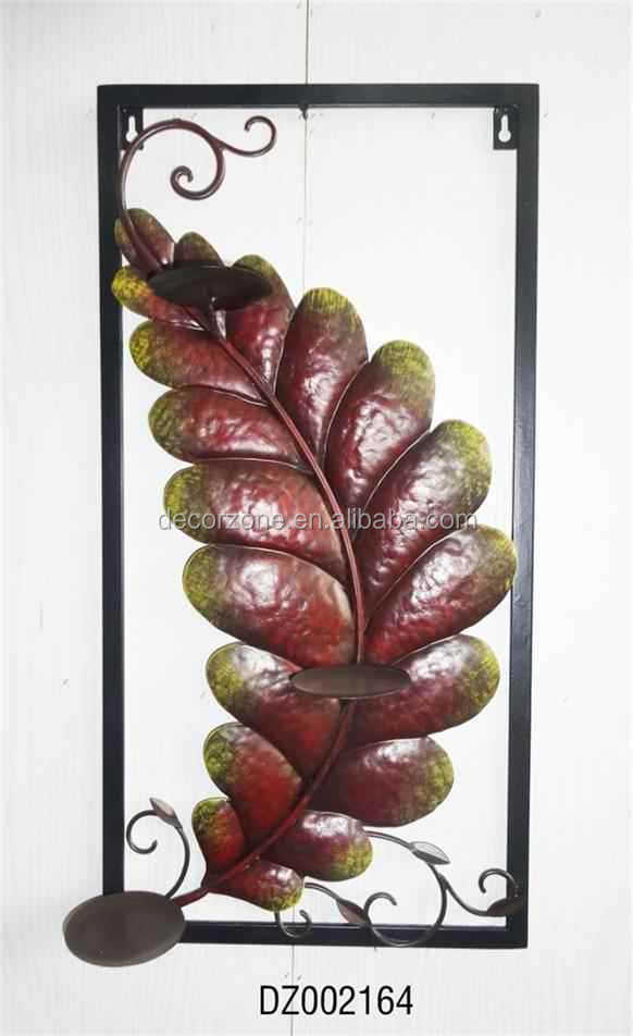Decorative Leaf Wrought Iron Candle Holder Wall Sconce