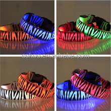 New products 2016 Zebra-Stripe LED Flashing Nylon Pet Dog Safety Collar Buckle Neck Strap