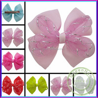 In Stock 2.8'' Satin Ribbon Compound Bows Boutique Ribbon Bowknot Hairbow With Alligator Clips