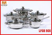 MSF 12pcs ollas de acero inoxidable caliente con tapa de cristal marrón
