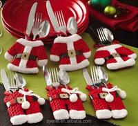 Hot Sale Happy Christmas Tableware Silverware Suit Santa Suit Christmas Silverware/tableware/dinnerware Holders 6 sets/bag