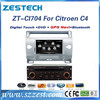 ZESTECH touch screen stereos audio type player multimedia navigator car stereo for Citroen C4 car stereo