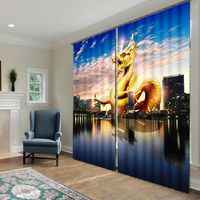 Hottest 3D Digital Printed Chinese Golden Dragon 100% shading blackout curtain